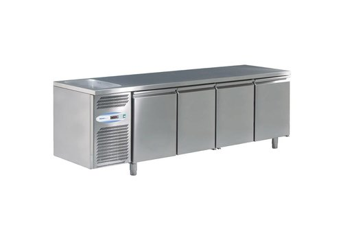 HorecaTraders Refrigerated sink with 4 doors with sink left 224 x 70 x 85cm