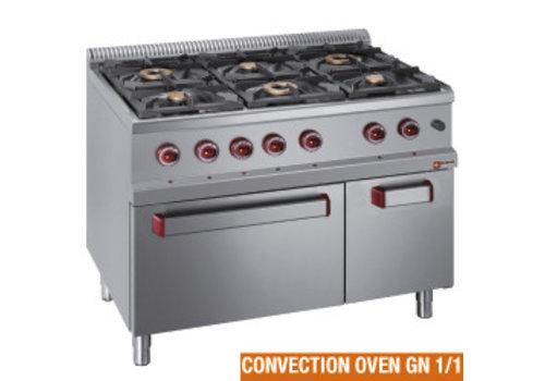 Diamond Gasfornuis met elektrische convectie oven | 6 branders