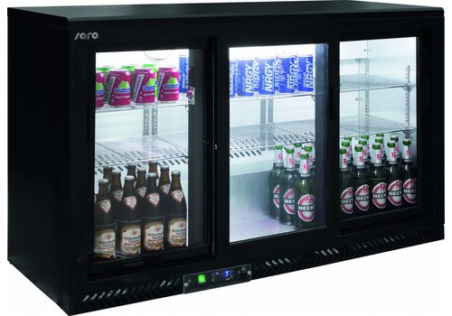 Saro Bar Fridge with 3 sliding doors - Black - 2 year Warranty