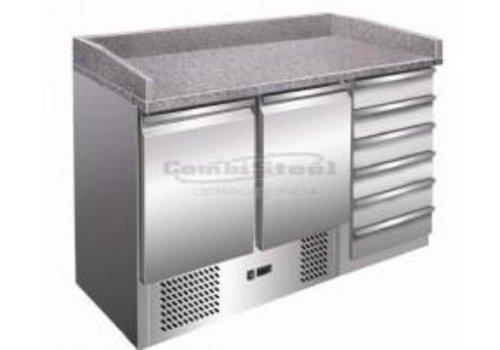 Combisteel Pizza Workbench 2 Doors | with 6 drawers