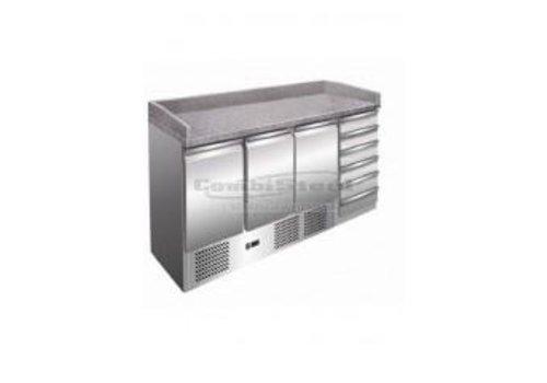 Combisteel Pizza Workbench 3 Doors | 6 Schubladen