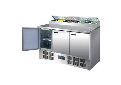Polar Stainless Steel Pizza Workbench 8 x 1/4 GN | 389 Liter