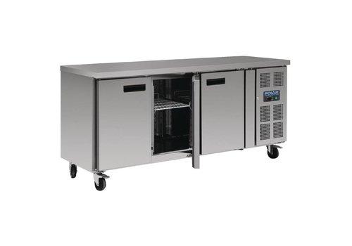 Polar Kühlwerkbank aus rostfreien 3-Türer mit Rädern | 85 x 170 x 70 cm