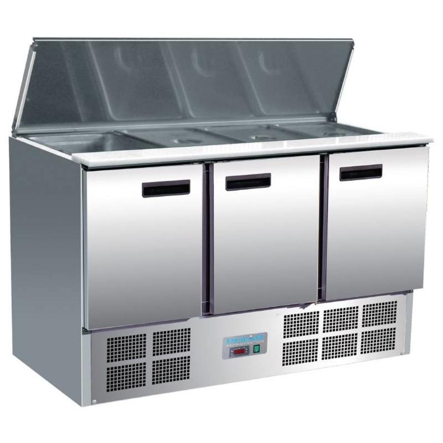Stainless Steel Saladette 3 Doors 85x137x70 cm   4 x 1/1 GN