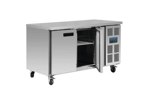 Polar Stainless steel workbench 2-door freezer