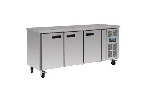 Polar Stainless steel workbench 3-door freezer | 417L