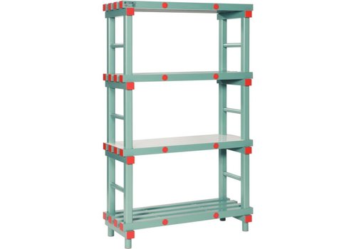 HorecaTraders Warehouse Plastic rack with 4 shelves 10 Formats