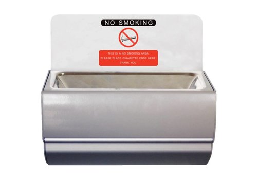 Bolero Stainless steel wall ashtray | 100 (H) x 190 (W) x 100 (D) mm