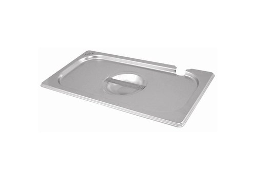 Vogue Stainless steel lid with spoon cutout GN 1/3
