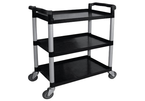Vogue Black Plastic Serving trolley with 3 Blades 96 (h) x52x107cm