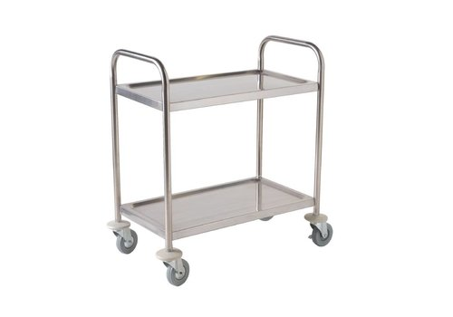 Vogue Stainless steel serving trolley 2 sheets 85 (h) x81x45cm