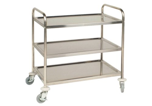 Vogue Horeca Serving trolley stainless steel with 3 blades 93 (h) x86x53cm