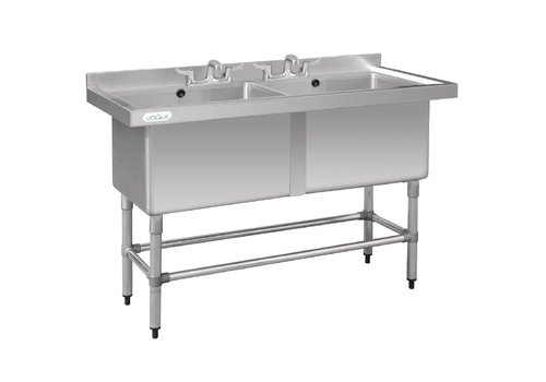 Vogue Stainless steel washbasin | Double sink | 141x60x90 cm