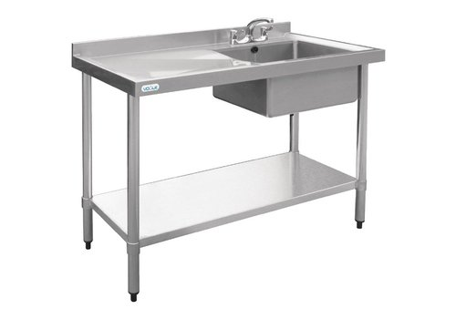 Vogue Sink table stainless steel | rinse bowl right 100x60x90 cm