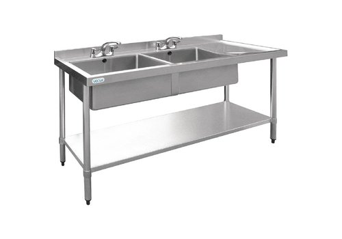 Vogue Stainless steel Sink table | 2 bins left | 180x60x90 cm