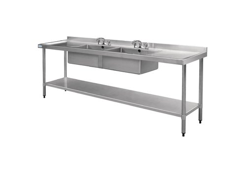 Vogue Stainless steel Sink table | sink Double | 240x60x90 cm