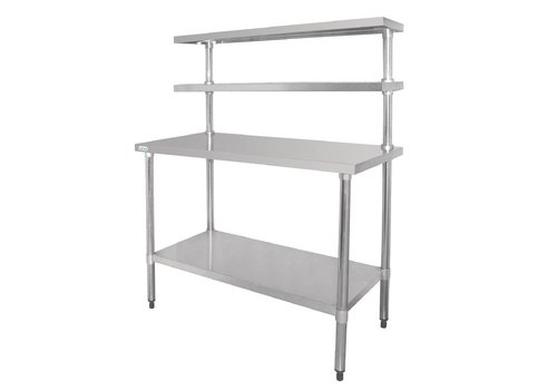 Vogue Stainless steel work table with shelves 180 x 150 x 60 cm