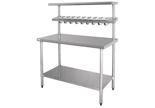 Vogue Stainless steel work table & wall shelf 180 x 150 x 60 cm