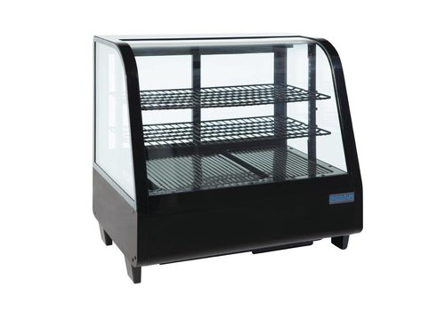 Polar Koeldisplay - Tafelvitrine - zwart 102 liter
