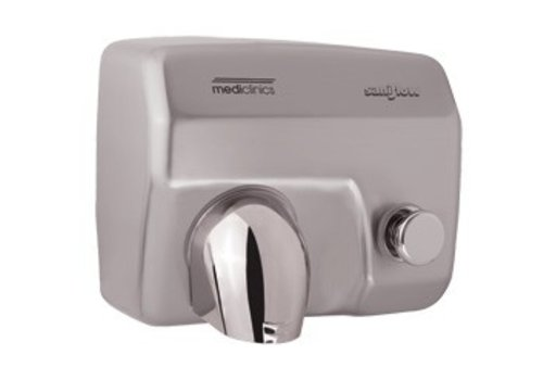 Mediclinics Hand Dryer Stainless steel mat - with button - powerful