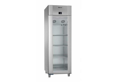 Gram Vario Silber / Edelstahl Kühlschrank mit einzelner Glastür 2/1 GN   610 Liter