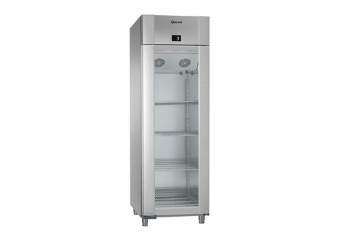 Gram Vario silver / stainless steel refrigerator with single glass door 2/1 GN | 610 liters