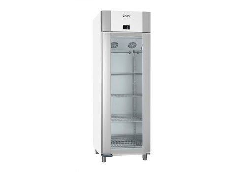 Gram Weiß / Edelstahl Kühlschrank mit einer einzigen Glastür 2/1 GN   610 Liter