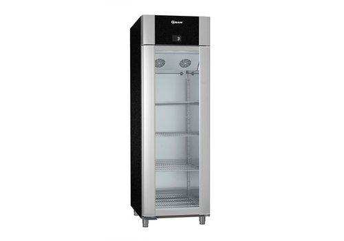 Gram Aluminium Kühlschrank schwarz mit Glastür 2/1 GN   610 Liter