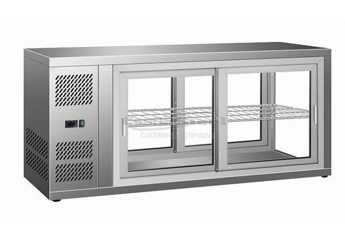 HorecaTraders Pastry Display Case with 2 sides glass