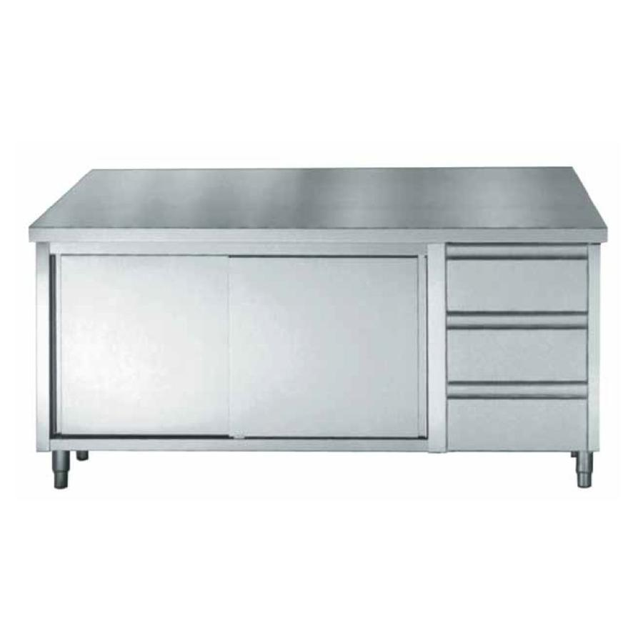 Stainless Steel Cupboard With Sliding Doors And Drawers 160x70x85