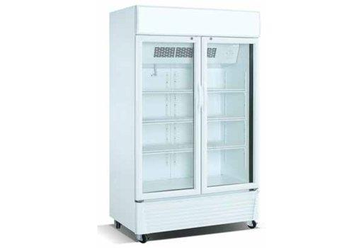 Combisteel Koelkast met glazen deuren | wit | 780 Liter