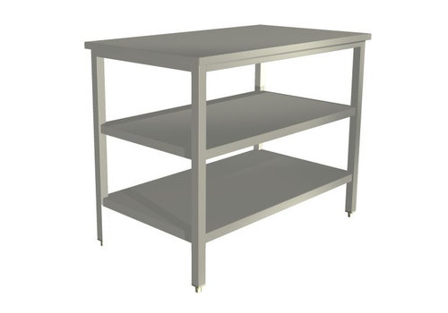 Bartscher Stainless steel work table without ledge | 70 cm deep | 5 formats