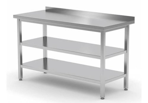 Bartscher Stainless steel work table with slatted edge   70 cm deep   5 formats