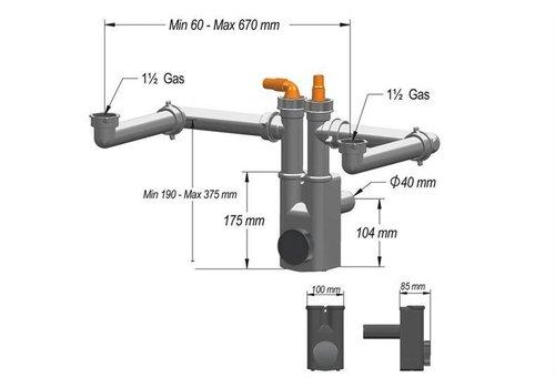HorecaTraders Siphon für Spülen SIF-202