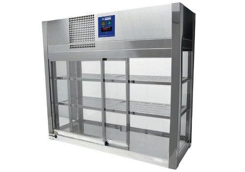 Diamond Stainless steel display case, 4 glass sides, 2 sliding doors - 80x41x70 cm