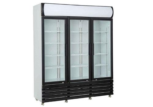HorecaTraders Wall cooler with 3 glass doors 160 cm 1065 liters