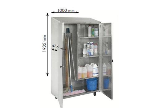 HorecaTraders Stainless steel cleaning cupboard