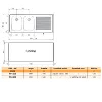 Bar spoeltafelblad inox | 120x50 cm | dubbele spoelbak