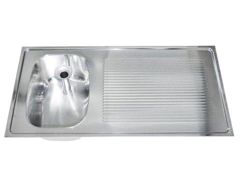 HorecaTraders Spoeltafelblad RVS | 100x50 cm | spoelbak links