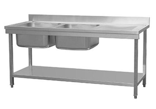HorecaTraders Waschbecken aus Edelstahl mit Waschbecken links | 180 x 70 x 85