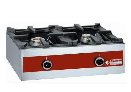 Diamond Gasbrenner 2-Brenner | Tischplatte | 5,5 kW + 3,2KW | 720x480x (H) 260mm