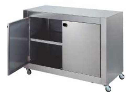 HorecaTraders Stainless steel cabinet with 2 doors and wheels