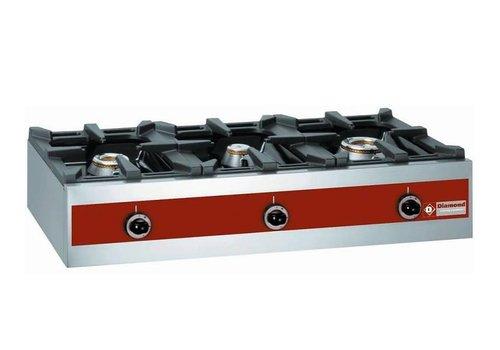 Diamond 3 Brenner Gasbrenner | Tischplatte | 7,2 + 5,5 + 3,2 Kw | 1000x480x (H) 260mm