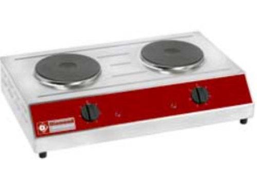 HorecaTraders Elektrische kookplaat | 2 platen | 3 kW
