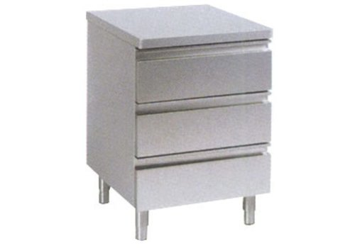 HorecaTraders Drawer cabinet without raised edge 3 drawers