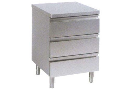 HorecaTraders Schubladenschrank ohne erhöhten Rand 3 Schubladen