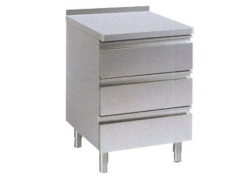 HorecaTraders Chest of drawers with raised edge 3 drawers