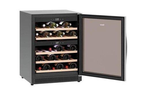 Bartscher Wijnkoelkast Zwart | Geluidloos Model | 2 Temperatuurzones | 590x575x825(h)mm