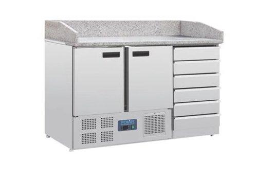 Polar Pizza Werkbank | Marmor und Teigplatte Schubladen | 257l