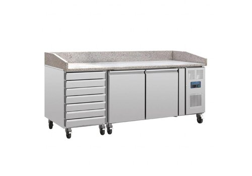 Polar Pizza Werkbank | Marmor und Teigplatte Schubladen | 428L